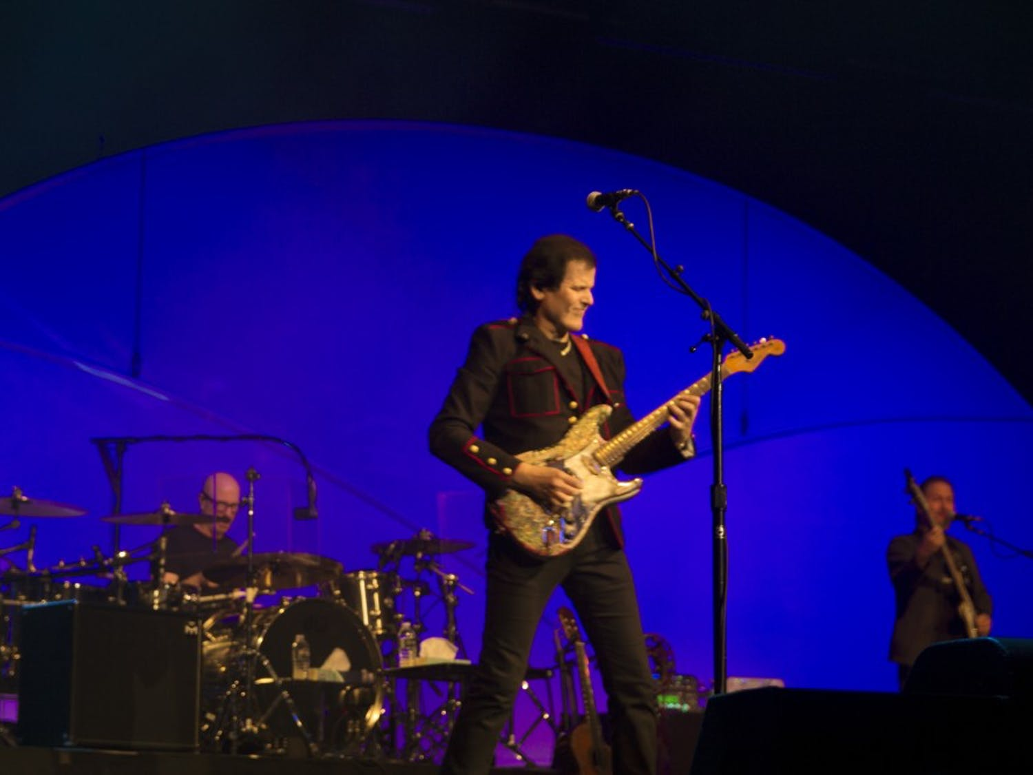 Guitarist Trevor Rabin taking a solo during a song. Saturday night rock icons Jon Anderson, Trevor Rabin and Rick Wakeman rocked the Seneca Niagara Casino, playing songs from their vast catalogue.