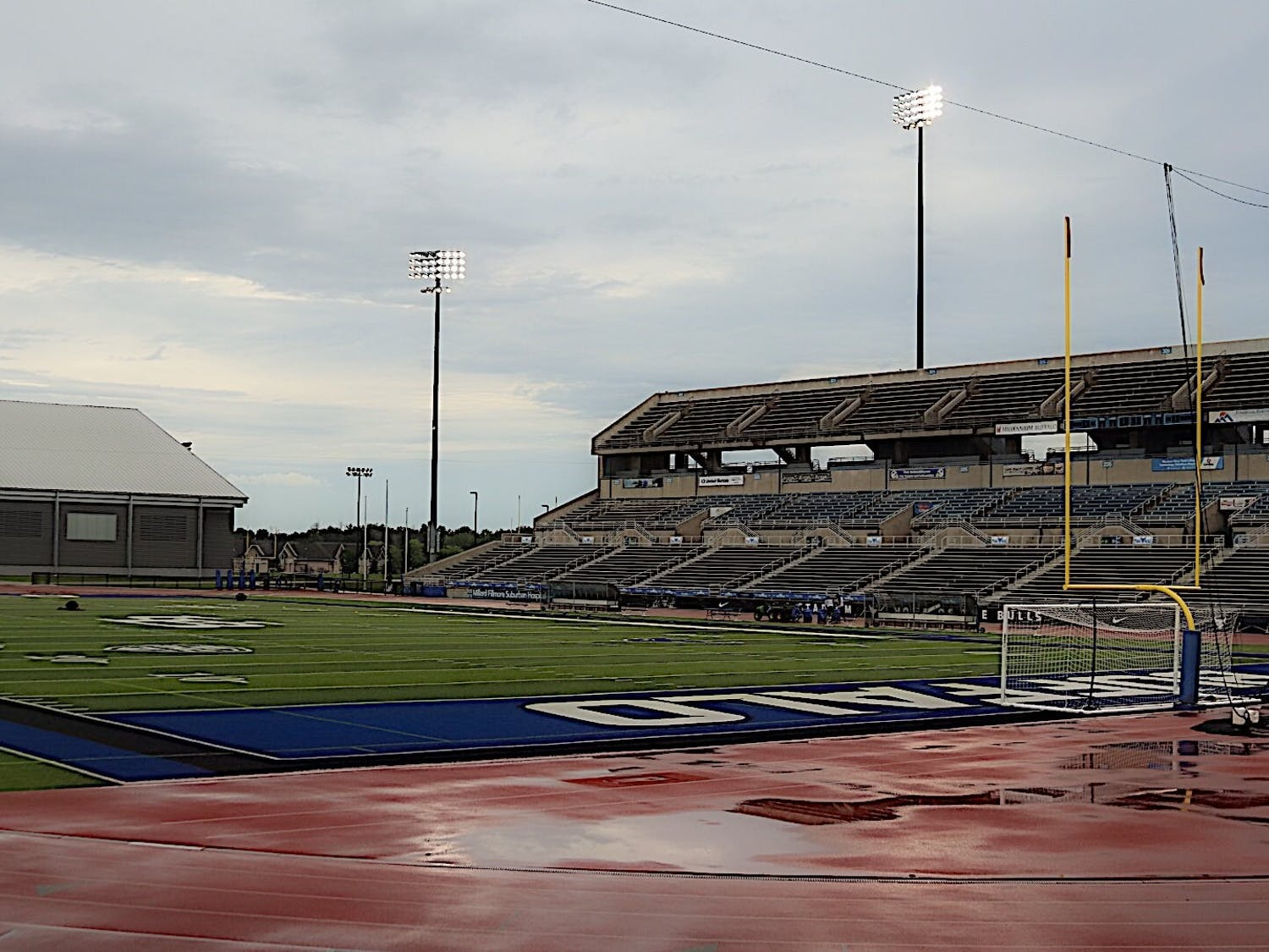 UB Stadium on a rainy day. Senior Division-I track and field athletes will have an opportunity to play next season.