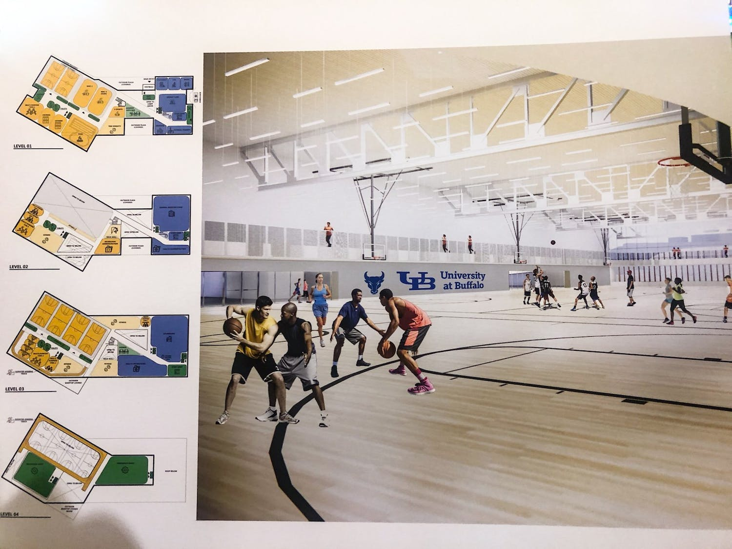 Image of plans for the Student Wellness and Recreation Center.