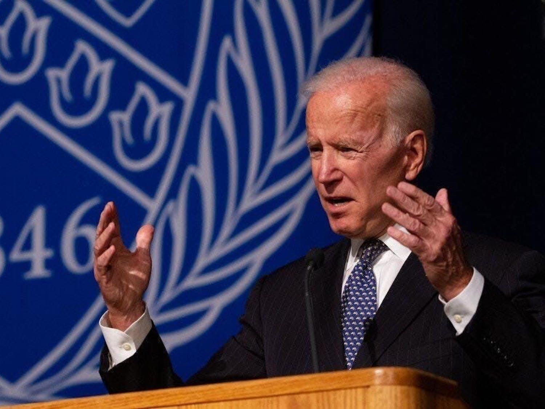 Former Vice President Joe Biden speaks at Alumni Arena as part of the annual Distinguished Speakers Series in 2018.