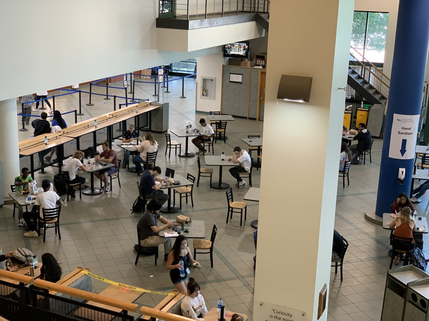UB has implemented socially distanced seating in the Student Union.