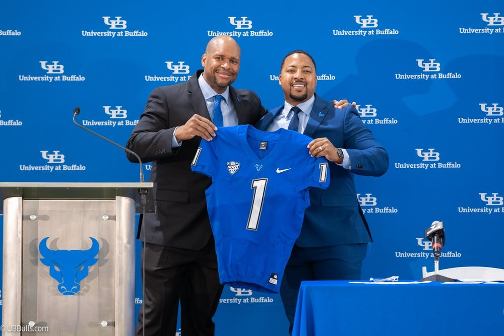 <p>UB Athletic Director Mark Alnutt officially introduced Maurice Linguist as the 26th head football coach in UB history Monday morning at the Murchie Family Fieldhouse.</p>