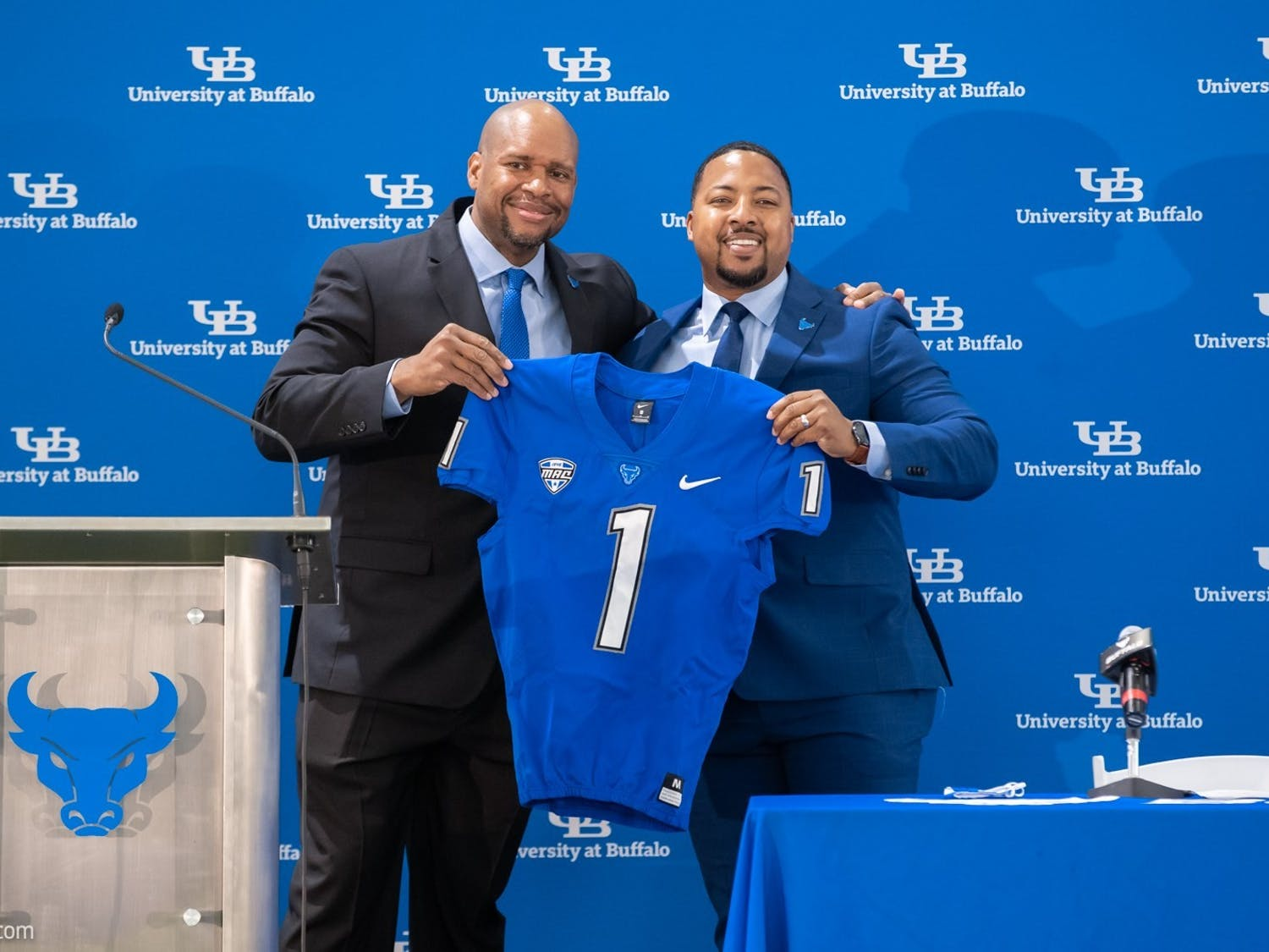 UB Athletic Director Mark Alnutt officially introduced Maurice Linguist as the 26th head football coach in UB history Monday morning at the Murchie Family Fieldhouse.