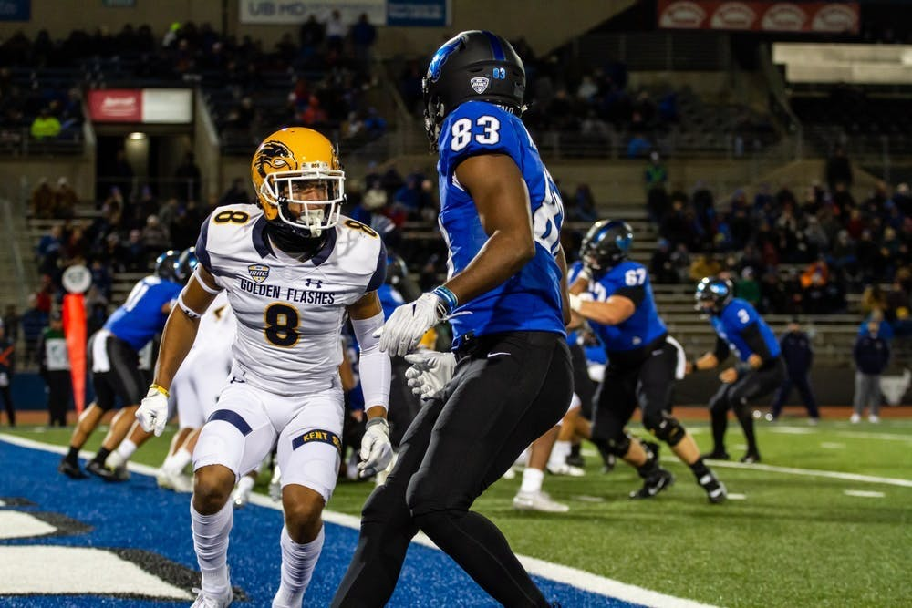 Former UB wide receiver Anthony Johnson creates space in the end zone in a regular-season game on Nov. 6, 2018.