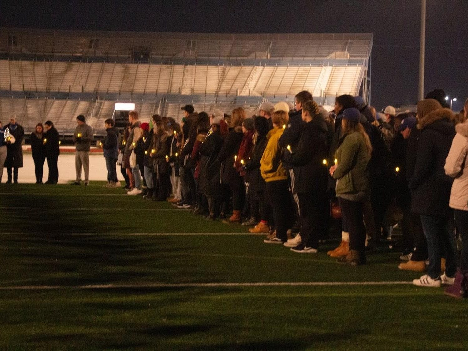 Community members watched on as loved ones of the student, who died on Wednesday, spoke at UB Stadium.