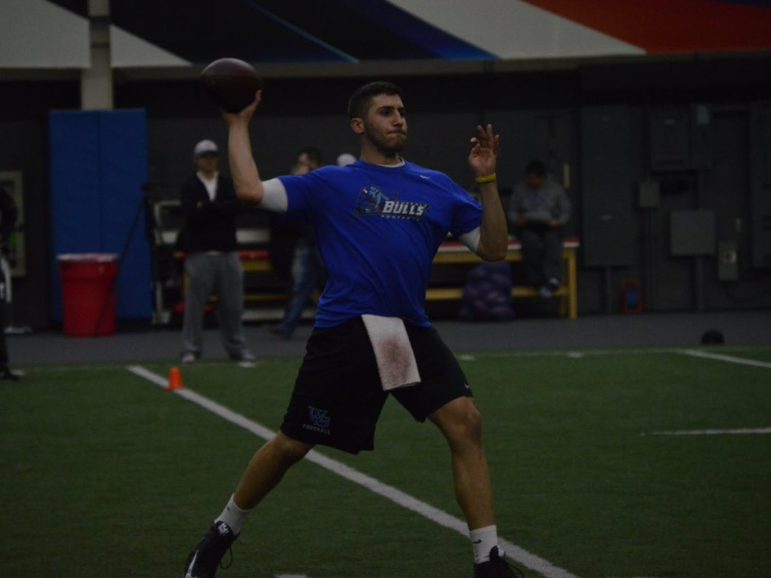 Twelve formermembers of the Buffalofootball team completed combine-style drills at the Buffalo Bills practice facility on Wednesday morning.