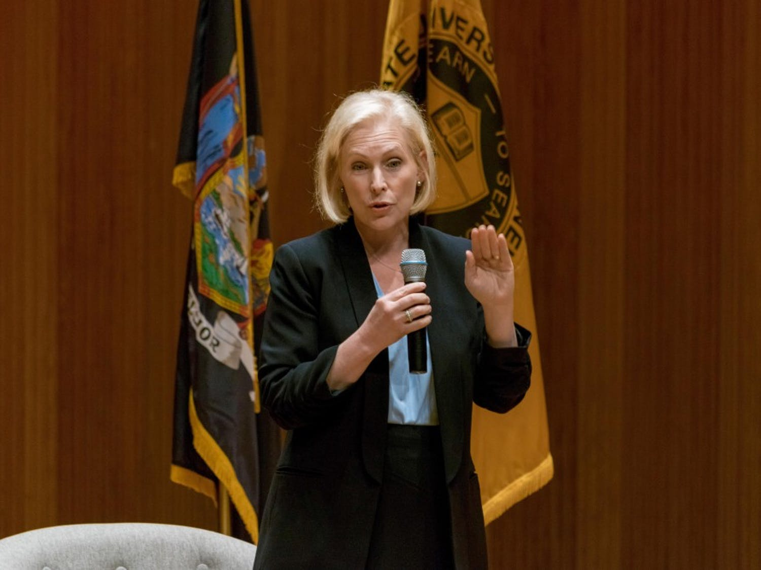 Senator Kirsten Gillibrand spoke to residents in a town hall discussion on Friday. Gillibrand answered questions about healthcare, public transit and selective service.