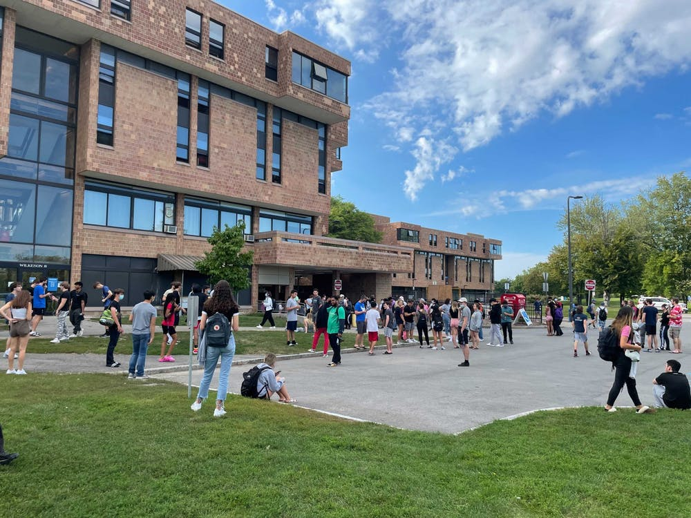 Students evacuate Wilkeson Quad due to fire in Ellicott Tunnel