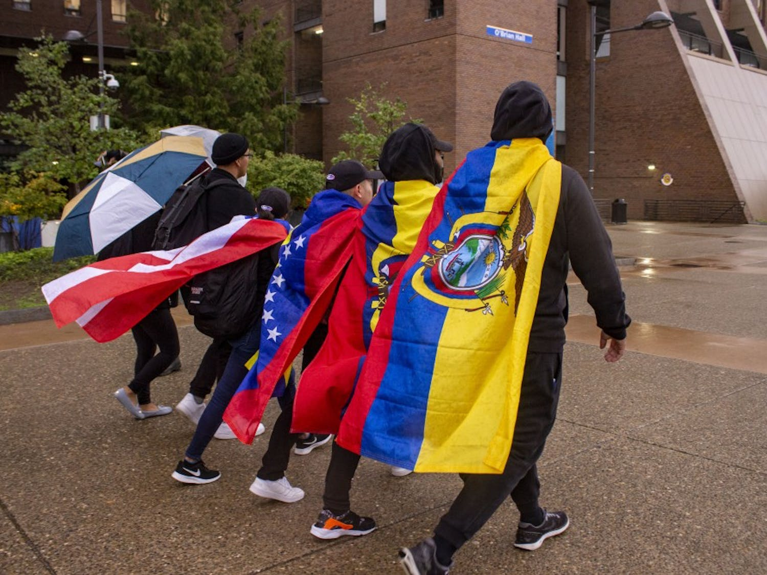 LASA members marching in protest to Capen from the student union on Wednesday.