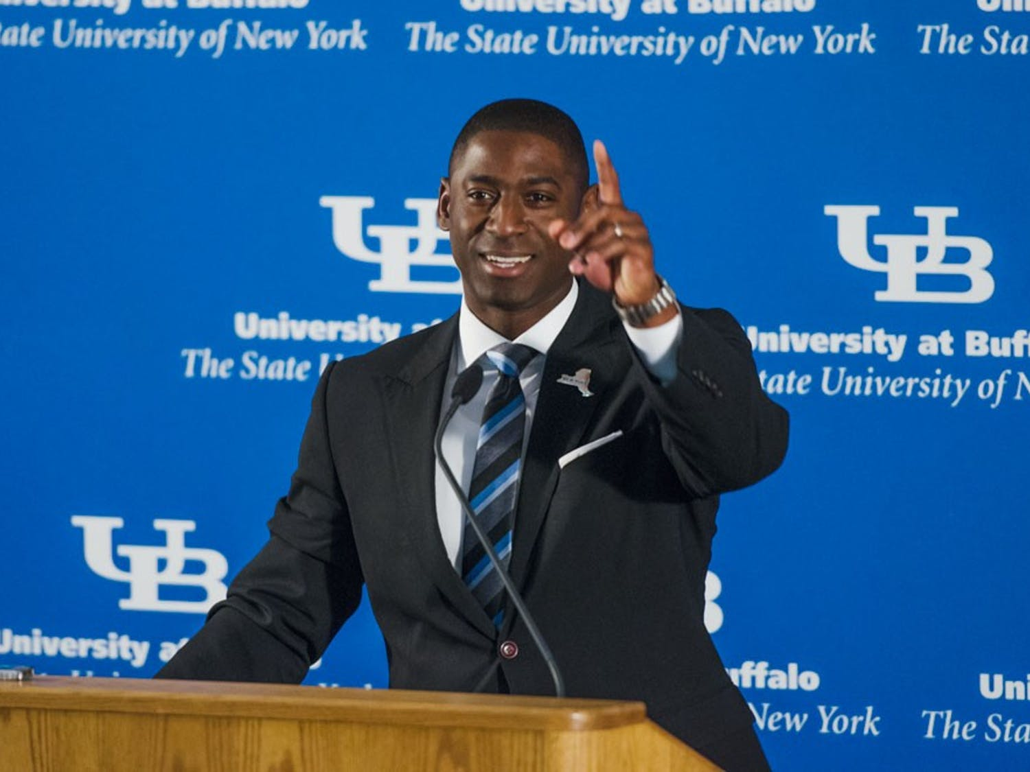 Allen Greene was named UB's athletic director in theUB Stadium team meeting room Tuesday morning. Greene previously served as UB's deputy director of athletics under Danny White, who accepted the AD job at the Univeristy of Central Florida last week.