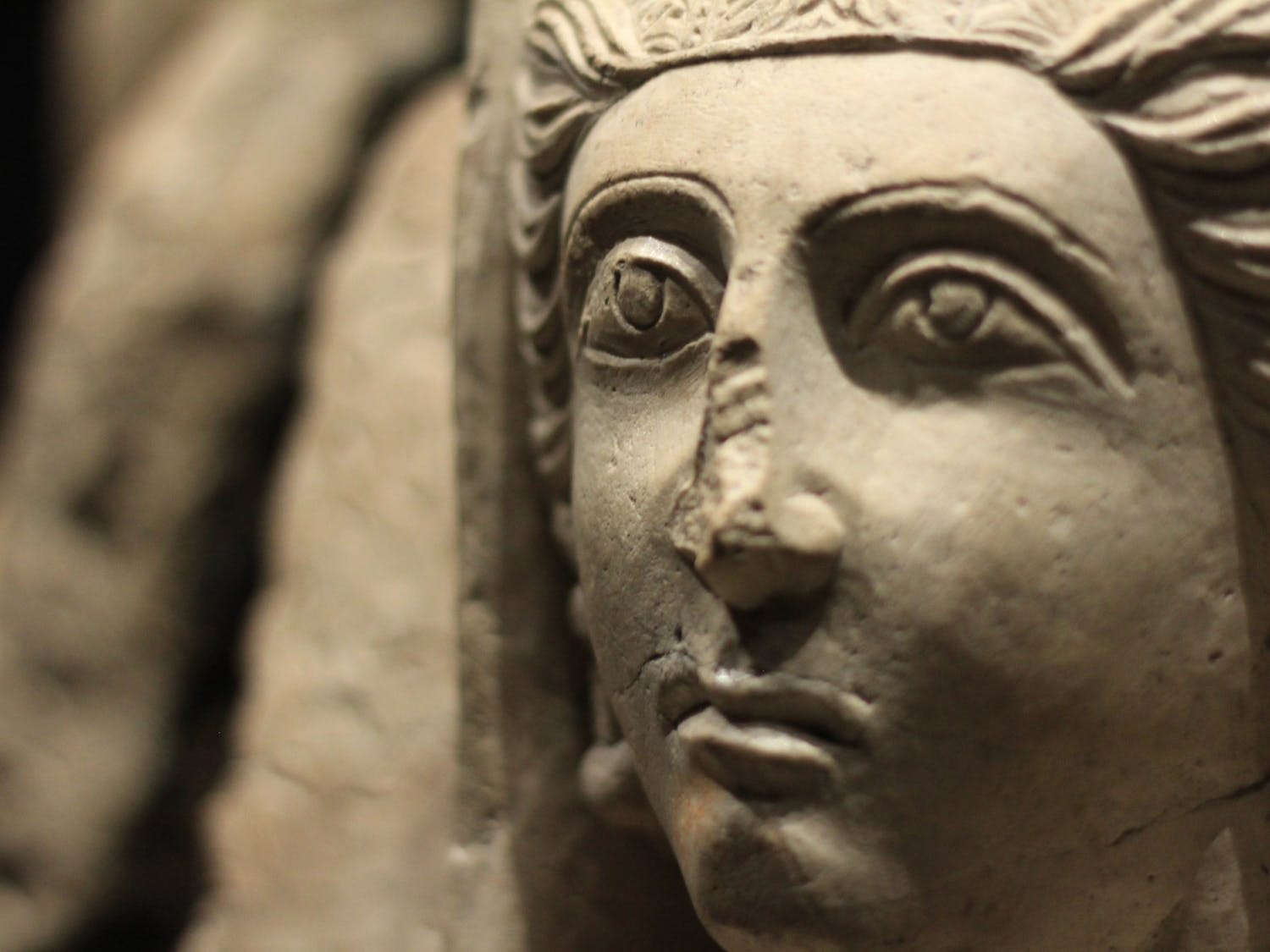 This Greco influenced stone bust likely stood as a guardian for the deceased to help accompany them into the next life.