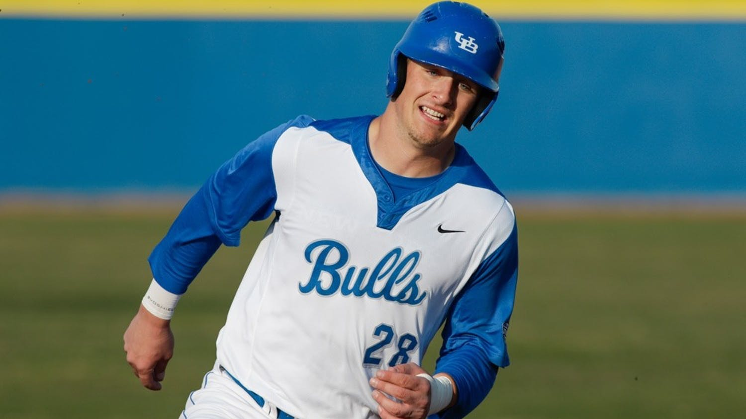 Junior outfielder Vinny Mallaro rounds the bases in a game last season. The Bulls are looking to have a successful Mid-American Conference run and return to the MAC Tournament.