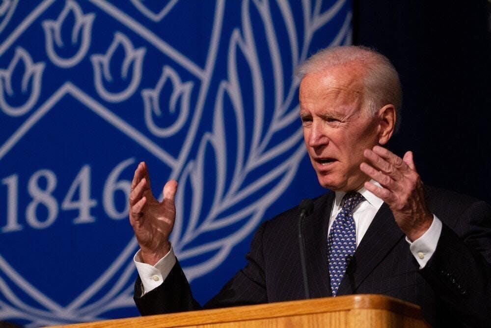 <p>2020 presidential candidate Joe Biden at the distinguished speakers series in 2018.</p>