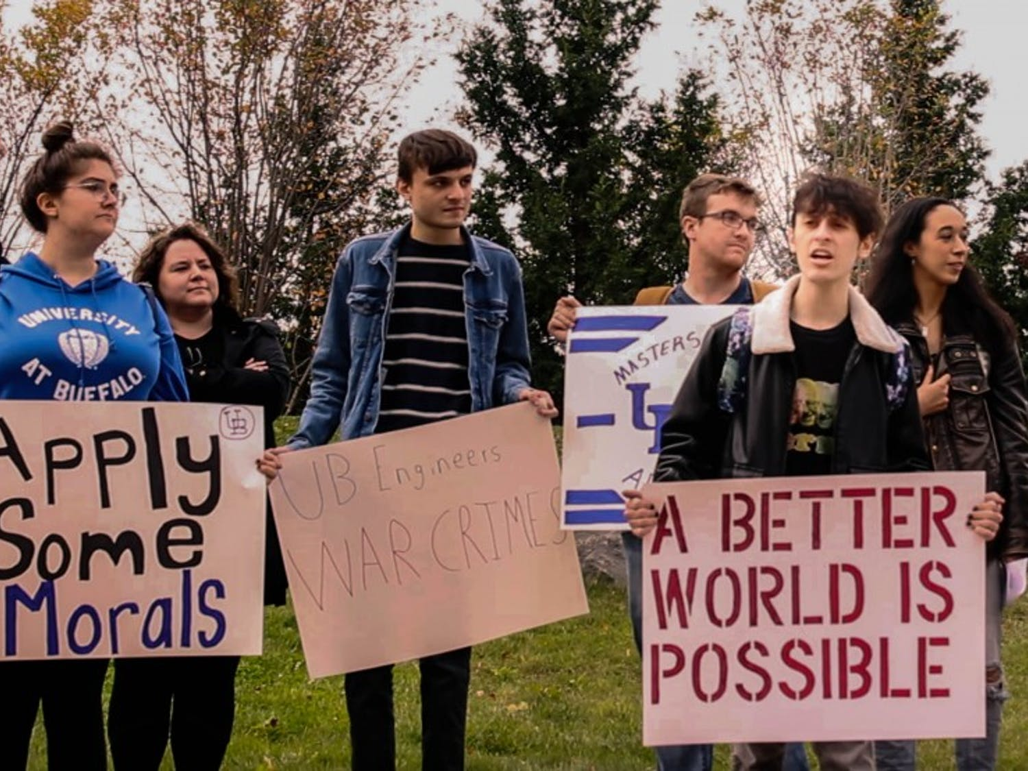 UB's Young Democratic Socialists of America protested UB School of Engineering's partnership with defense contractors.