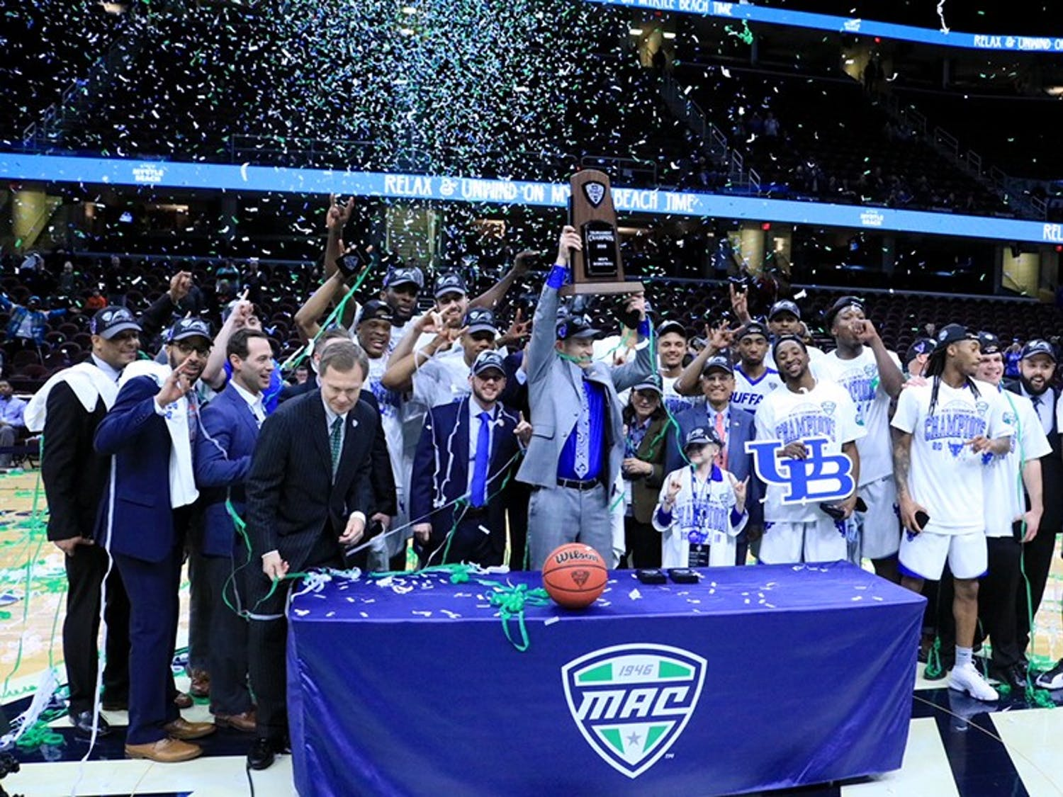 The men's basketball team celebrates their MAC Title victory in Quicken Loans Arena. The MAC Title ranks third on The Spectrum's list of top 10 events in March.