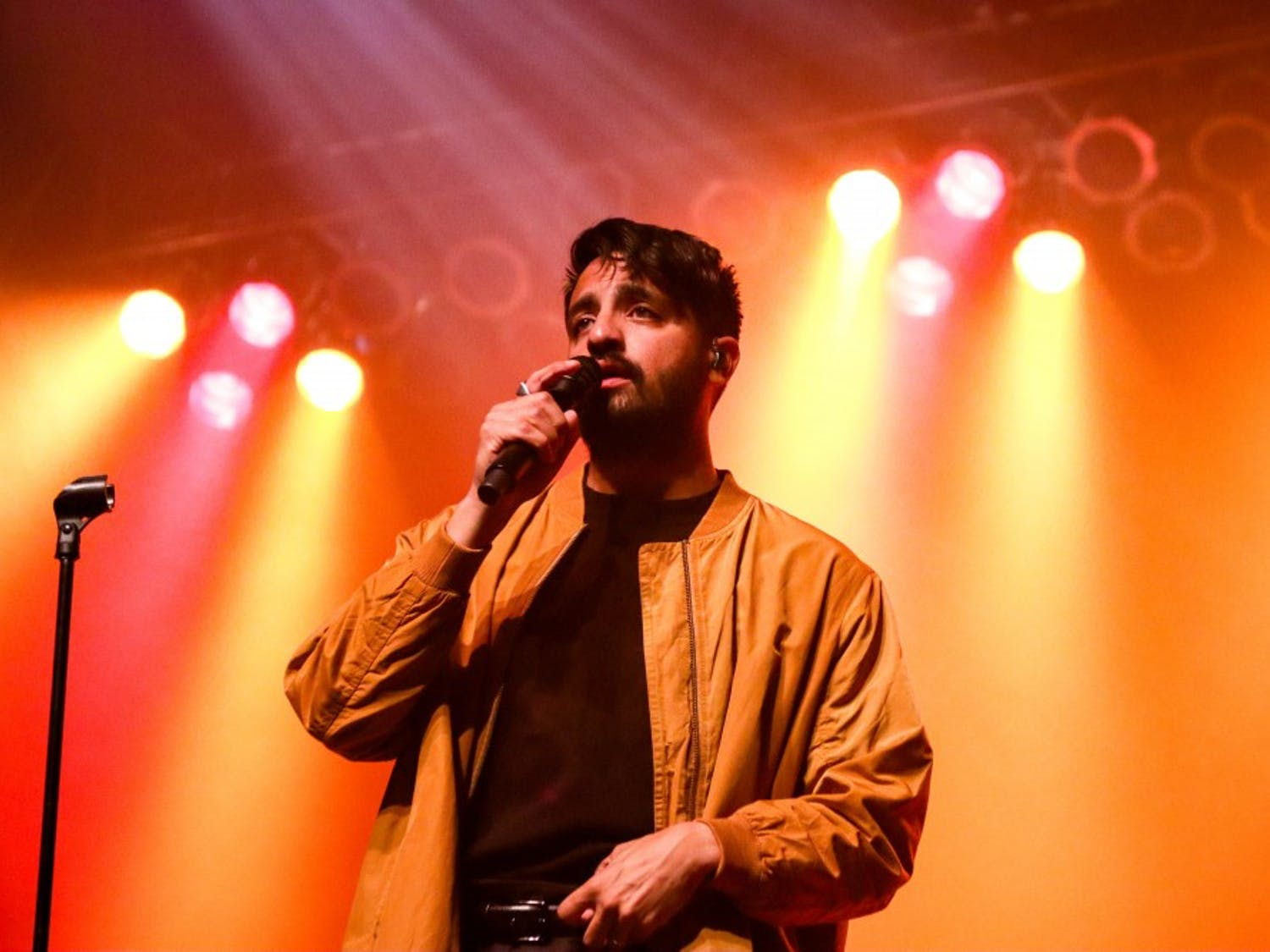 Sameer Gadhia, lead singer of Young the Giant, performs at the Center for the Arts Saturday.