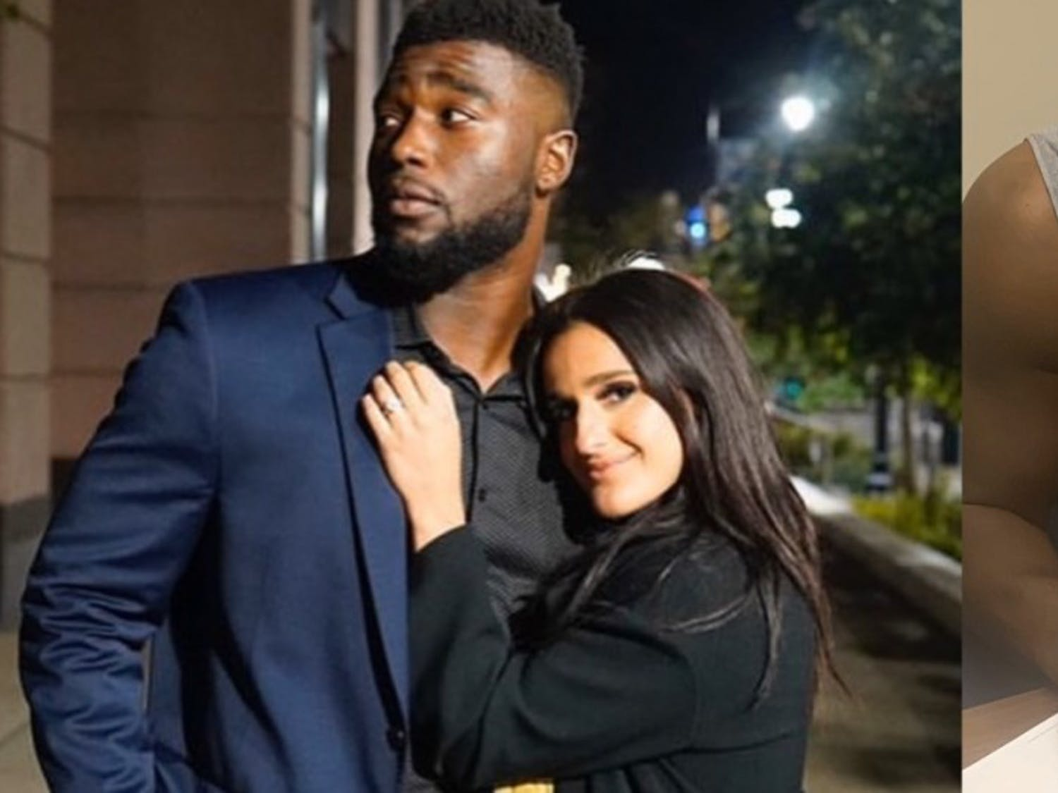 Former UB football star Demone Harris with fiancee Arianna Marinelli (left), Harris signs with Baltimore Ravens (right).