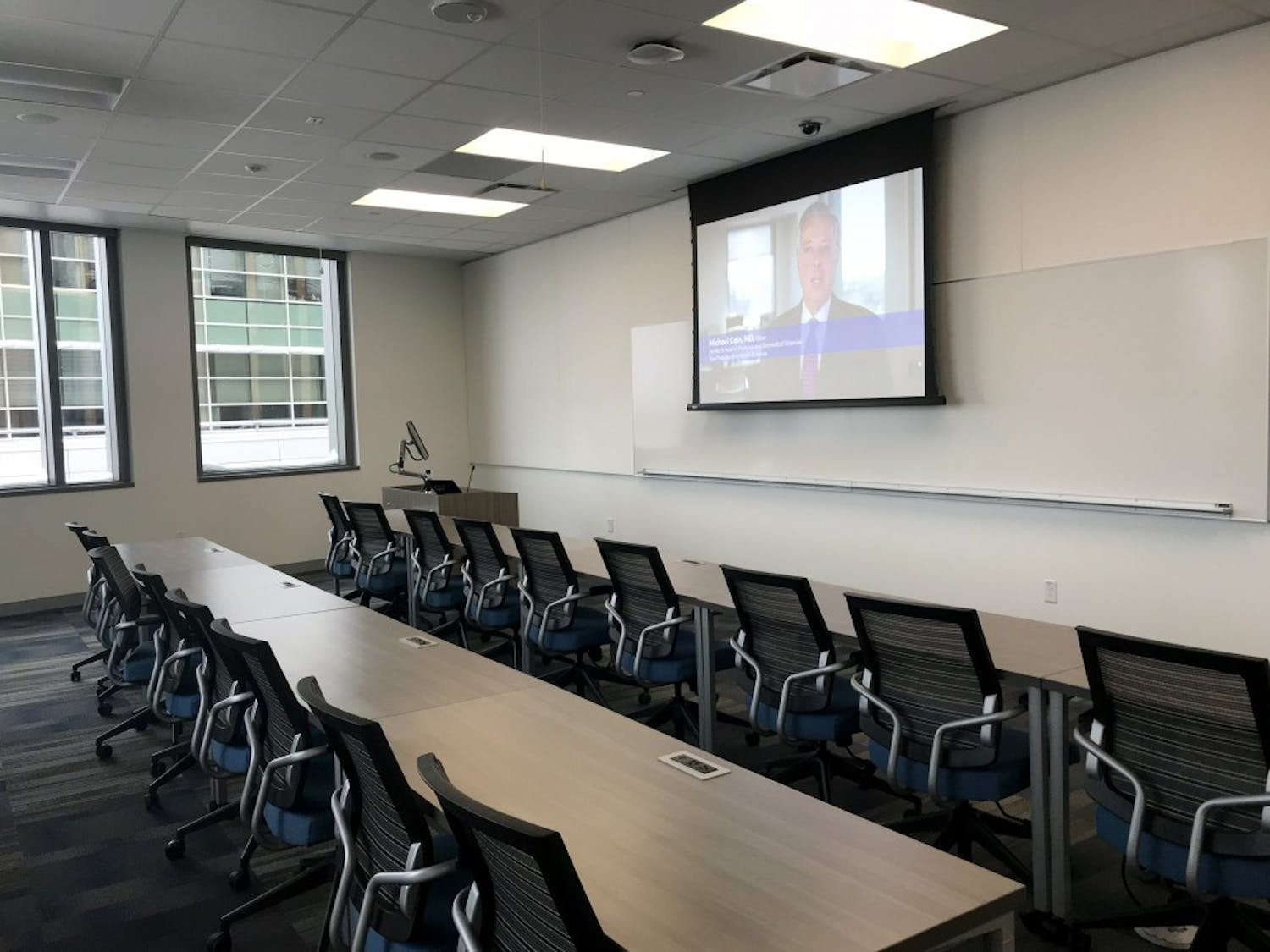 Classrooms in the new Jacobs School of Medicine and Biomedical Sciences are designed to facilitate collaborative, discussion based classes as opposed to traditional lectures, according to second year medical student Laura Reed. Students will start classes in the new building on Jan. 8.