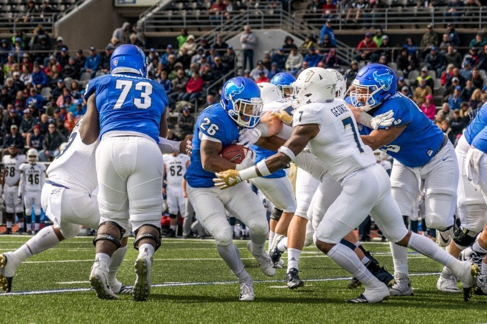 <p>Jaret Paterson of UB Football in action during a game last fall.&nbsp;</p>