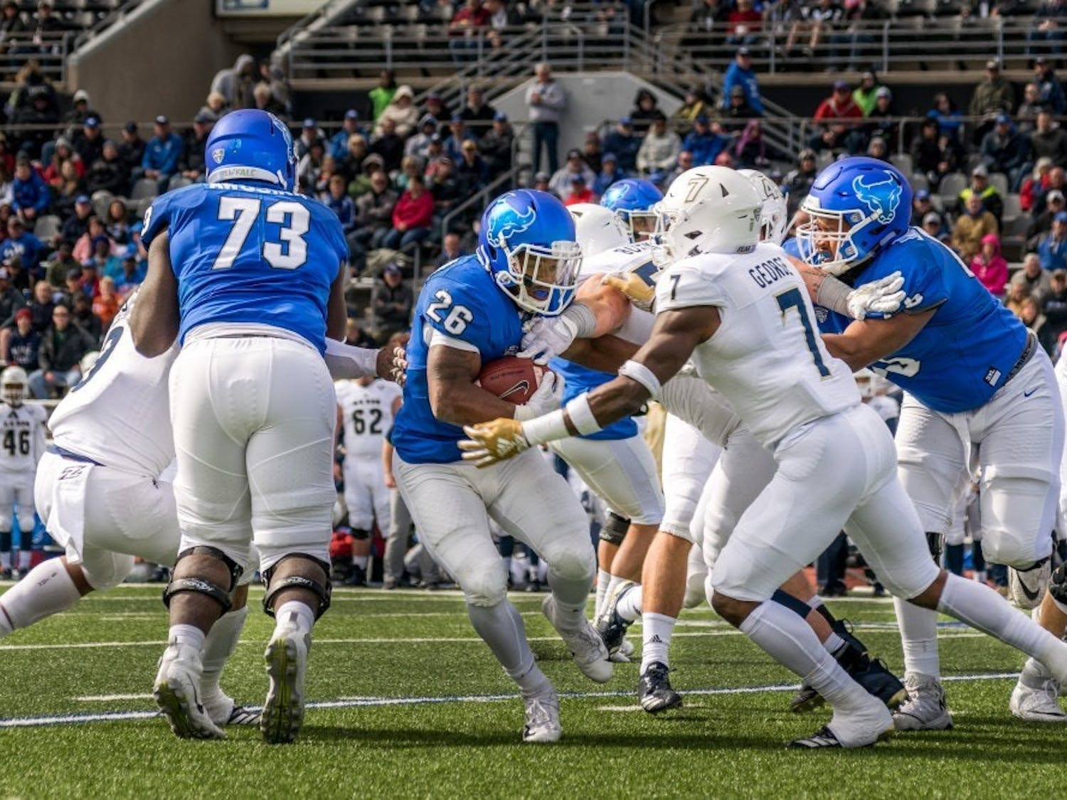 Jaret Paterson of UB Football in action during a game last fall.