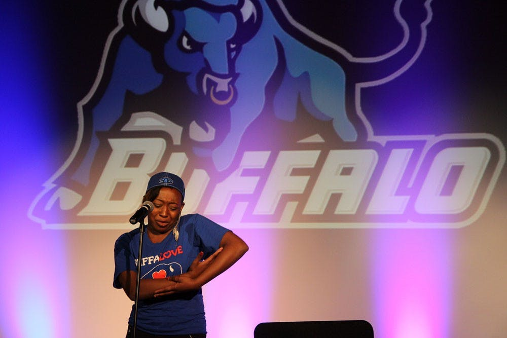 <p>Poets from various schools in the Buffalo area came to UB to perform slam poetry, or poetry that is performed rather than read on Friday night.</p>