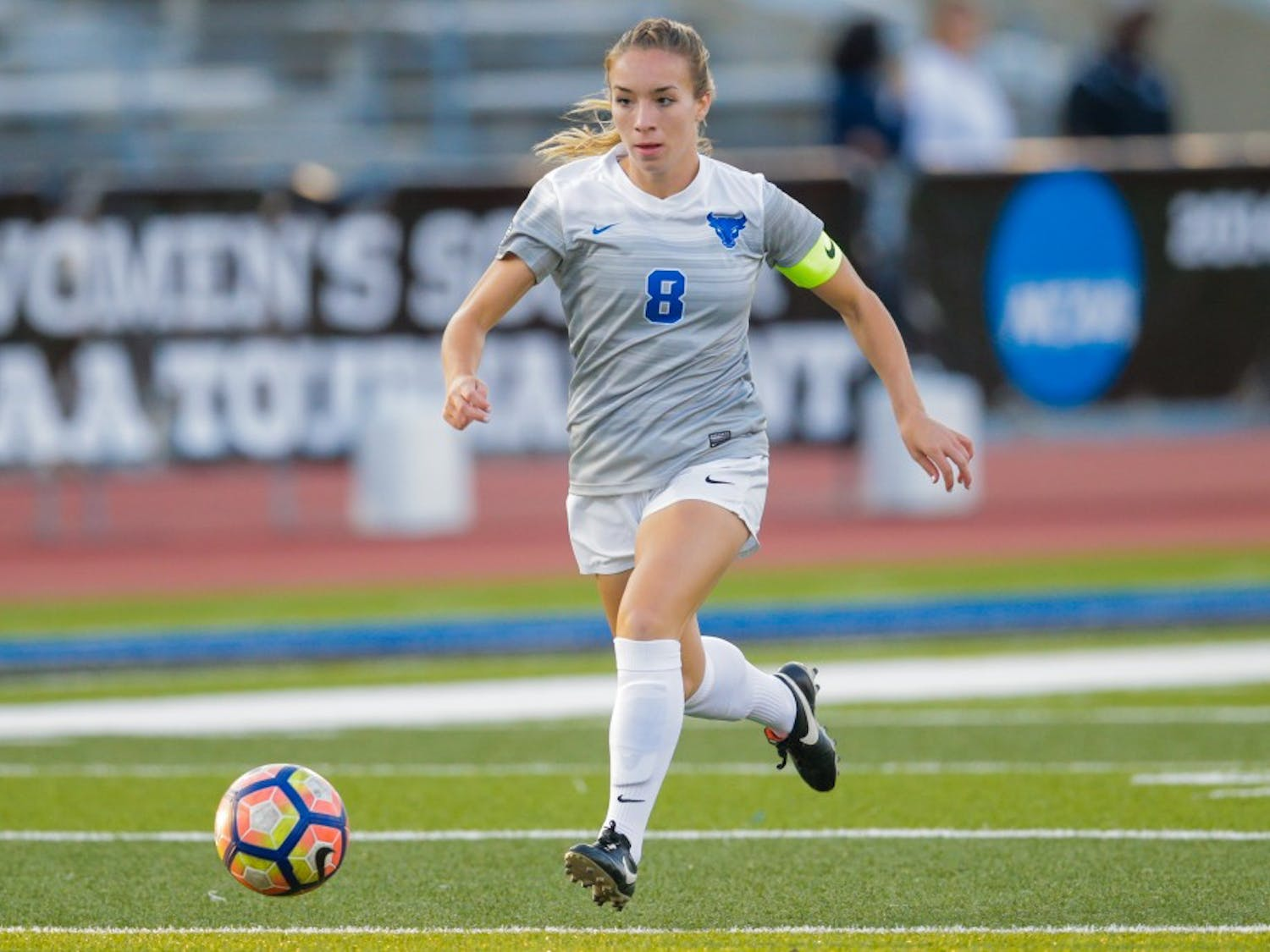 Senior forward Carissima Cutrona dribbles through the midfield. Cutrona leads the team with nine points on the season, including three goals in her past two games.