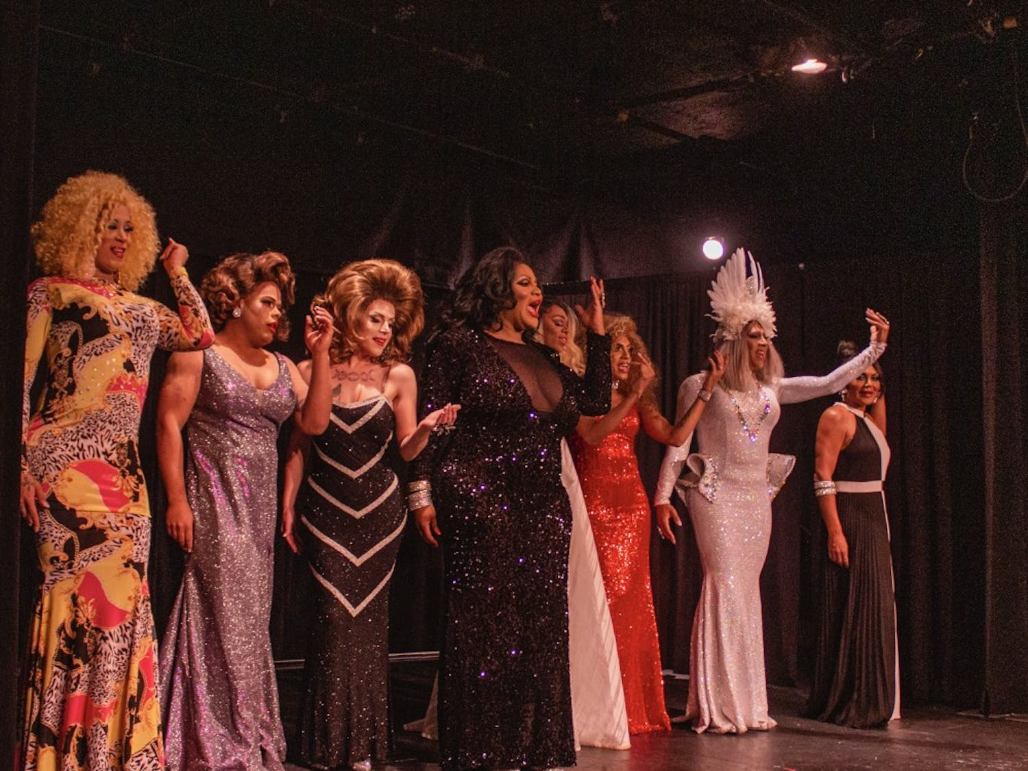 Drag Queens performing at Sheas Smith Theatre Friday night. From left to right Nicki Monroe, Cece Vergara, Sasha Storm, Keke Valasquez-Lord, Winter Storm, Chyna Dior, Bebe Bvlgari and Armani.