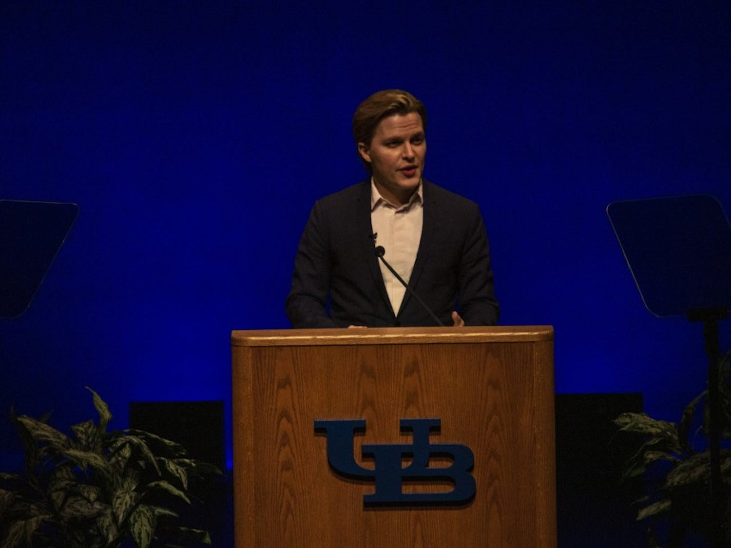 Pulitzer Prize-winning journalist Ronan Farrow spoke about the power of journalism and diplomacy as part of UB's Distinguished Speaker Series on Thursday night in the Center for the Arts.