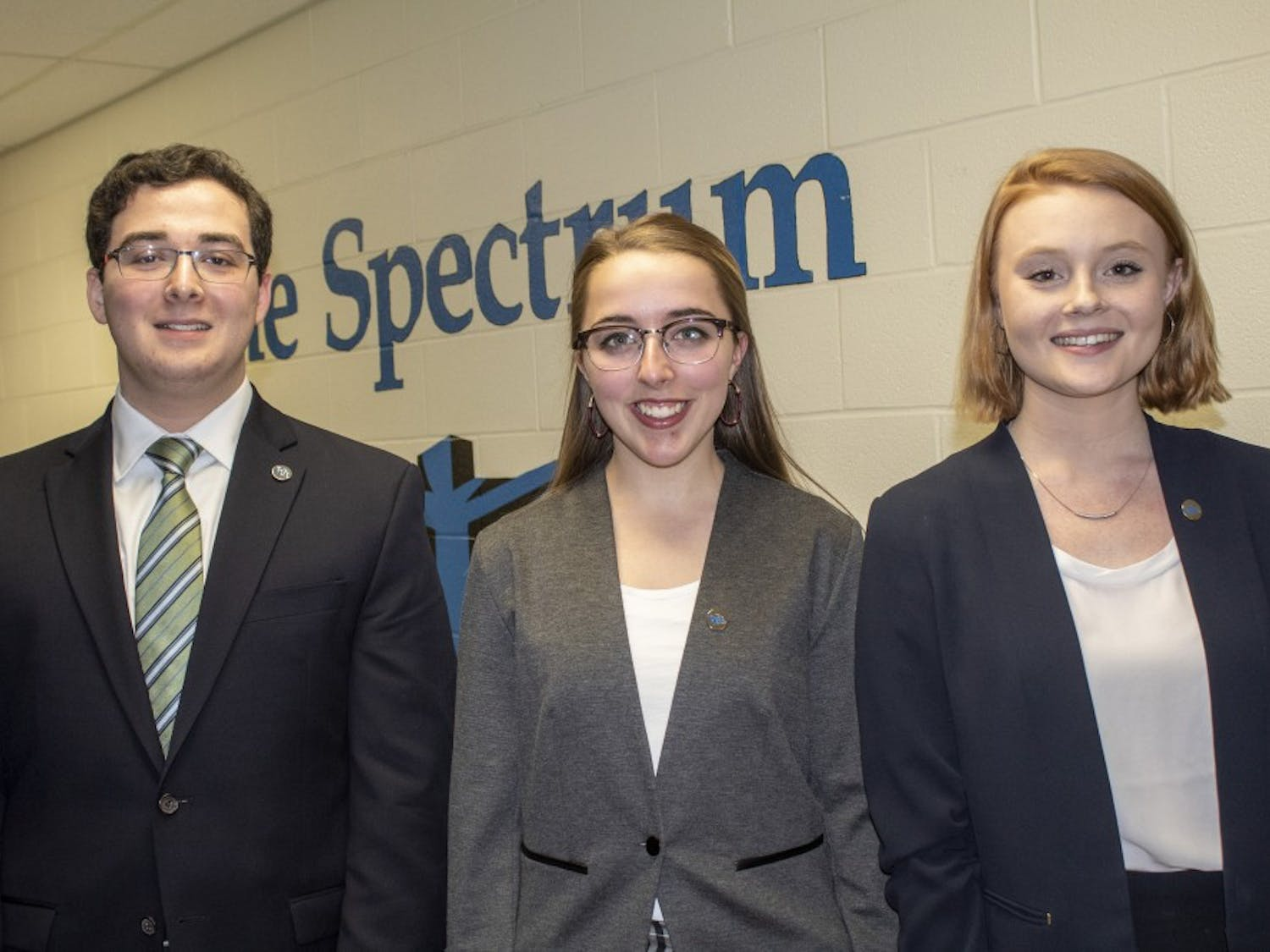Members of the CLEAR party from left to right: Eric Weinman, Sadie Kratt, Abbygail Hoke.