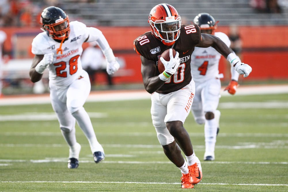 <p>Junior wide receiver Quintin Morris finds an open lane during a 46-3 victory over Morgan State.</p>