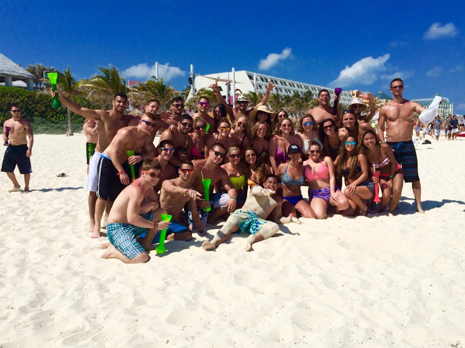 David Rubino and his friends pose for a photo during a spring break trip.While some students choose to stay home during spring break, others go on tropical vacations.