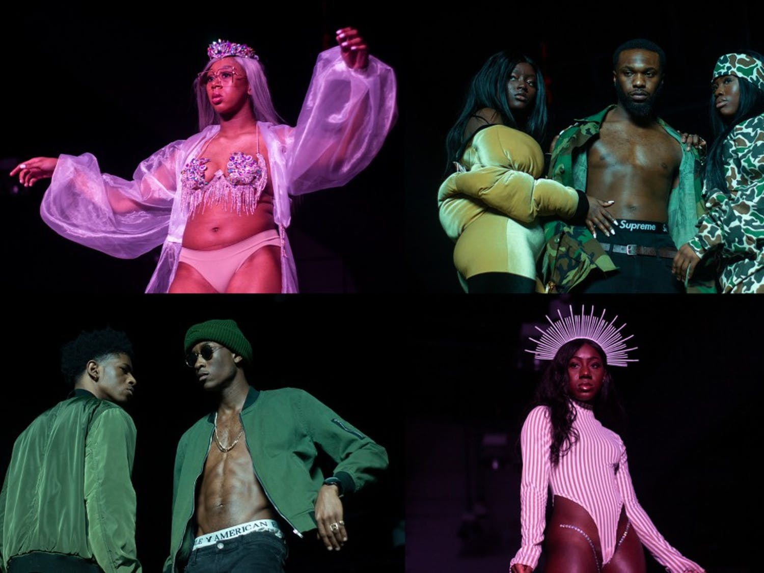 Students model clothing at Saturday's Black Explosion fashion show. The Black Student Union's annual event highlighted clothing lines from independent artists.
