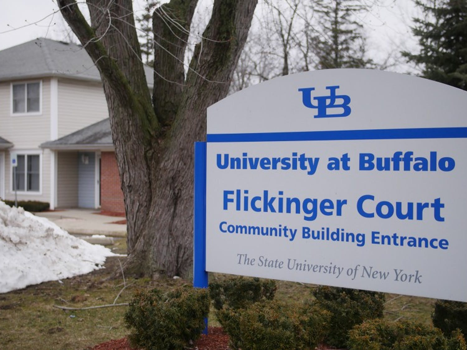 Flickinger Court, located across the street from North Campus off Chestnut Ridge Road, is one of two on-campus apartment options for graduate students. On-campus rents have risen in recent years, and many graduate students are opting to live off-campus as a result.