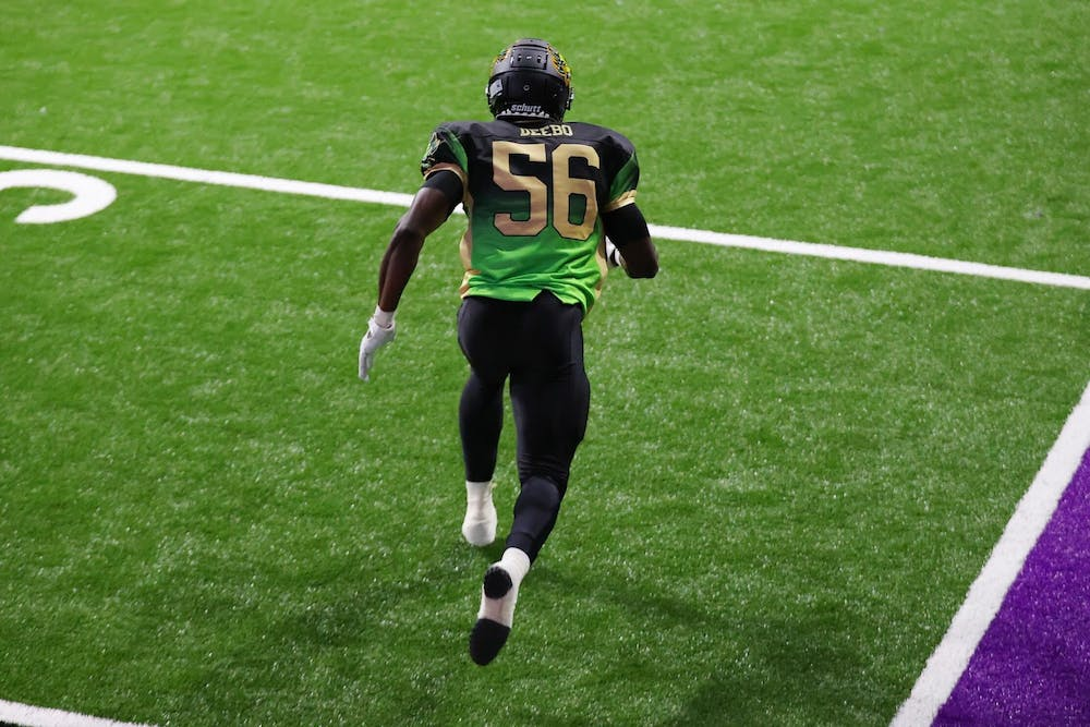 <p>Jeremiah Dadeboe, a 6', 210 lb. safety/linebacker who played college football at UB, is one of 88 players partaking in Fan Controlled Football.</p>