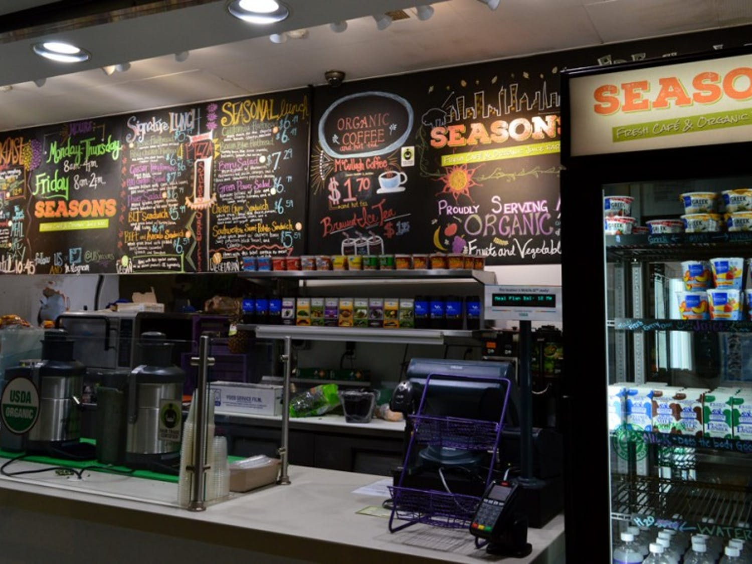 Seasons is a new café and organic juice bar in the Center for the Arts. The menu includes freshly blended juices and light breakfast options. It is one of many additions and upgrades Campus Dining & Shops has made in a $3.5 million renovation over the summer.