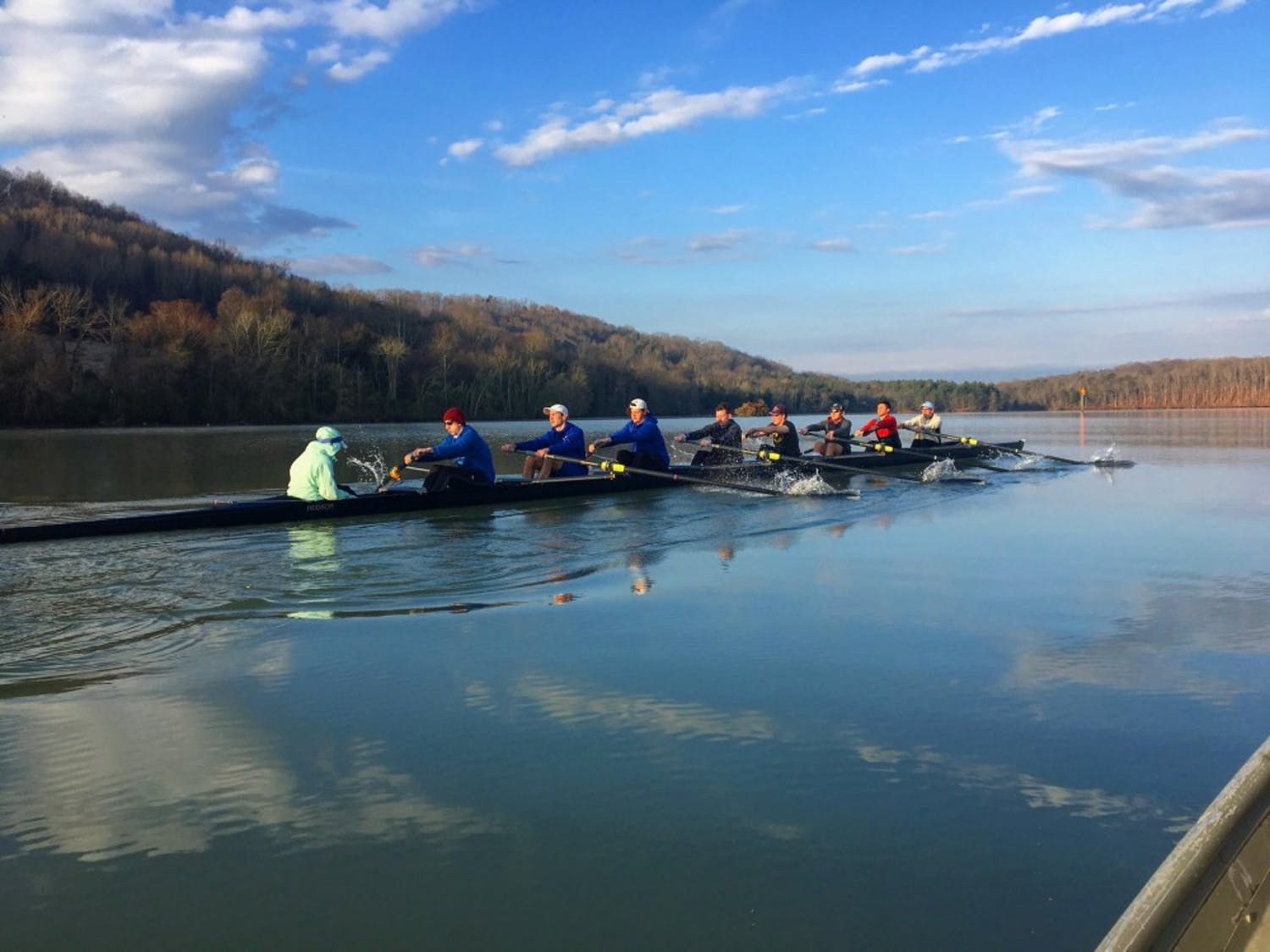 UB rowing club practices early on the water. The rowing club is coming off a successful end to its season.