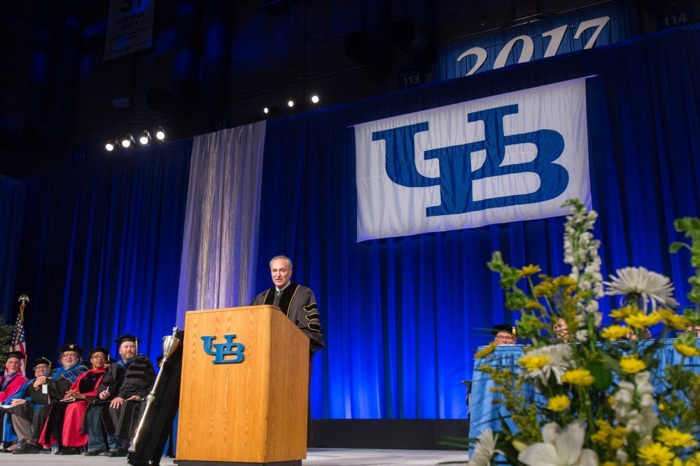 Senate Majority Leader Chuck Schumer (D-NY) speaks to students at UB's 2017 Commencement ceremony.