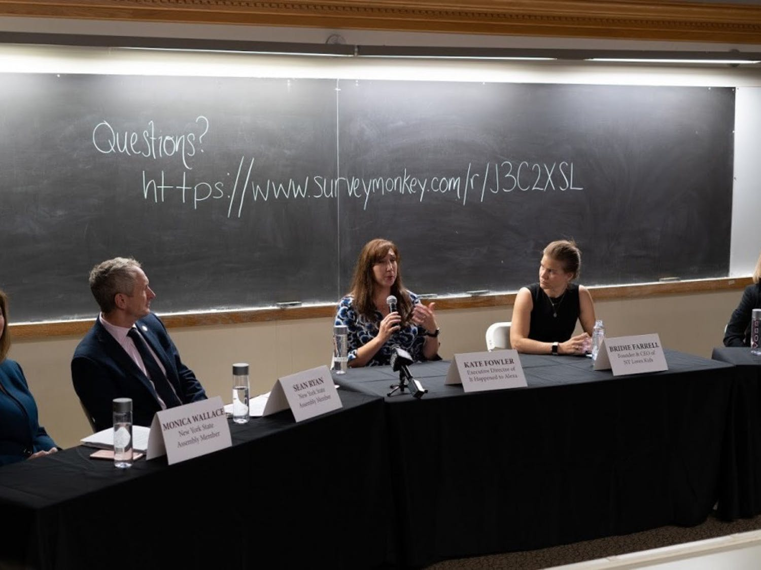 NYS Assembly Member Sean Ryan, It Happened to Alexa Executive Director Kate Fowler and former Olympian Bridie Farrell discuss the Child Victims Act at UB.