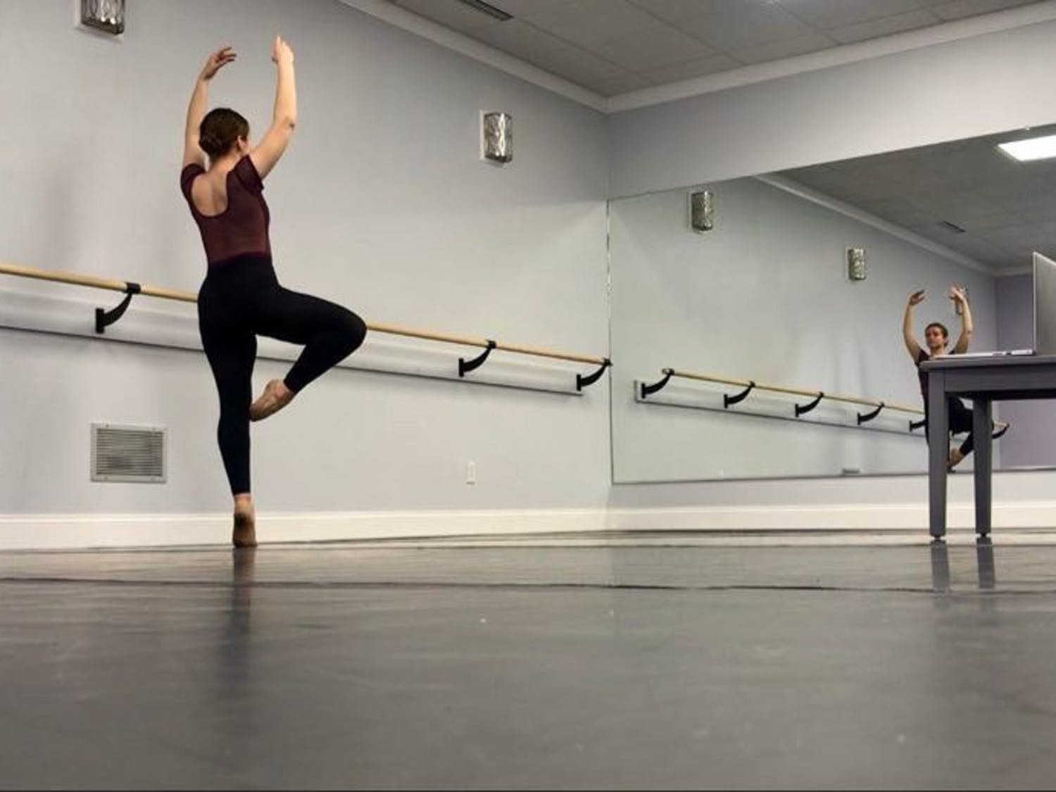 Sophomore dance major Kelsey Wegman practices her craft alone in her own studio.