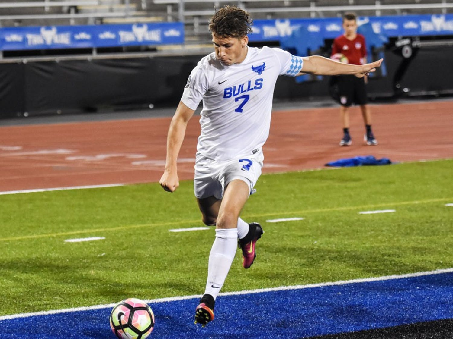 Russell Cicerone takes a shot on goal. Cicerone graduated UB with 42 goals scored and now plays professionally for Saint Louis FC.