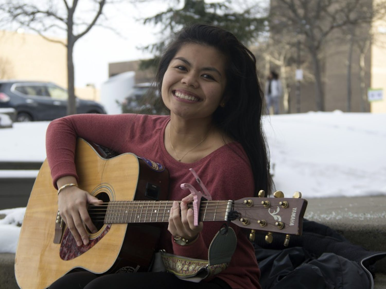 Accelerated nursing student Kari Quimpo makes songwriting lok easy and makes multitasking look even easier. Quimpo manages to play open mics around Buffalo and work through the Accelerated Baccalaureate Degree in Nursing (ABS) Program, all while inspiring her peers.