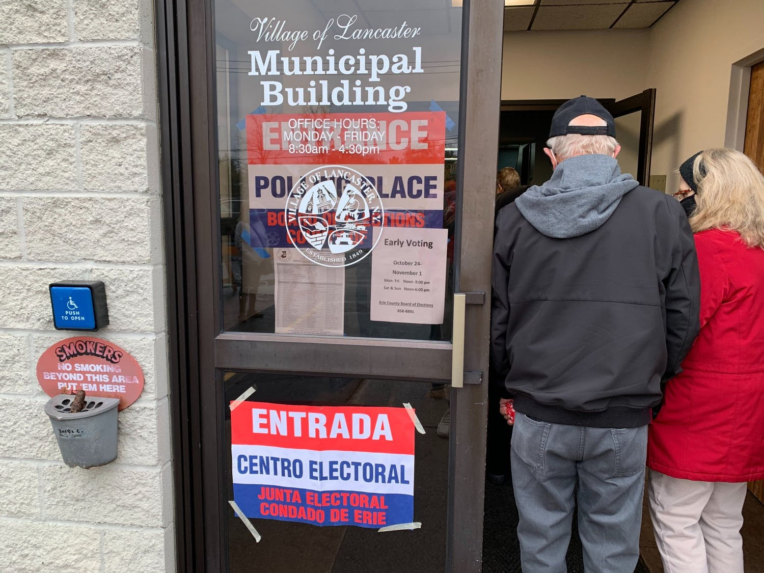 Hundreds of people braved the cold weather to vote early at the Lancaster Municipal Building in Lancaster last Thursday.