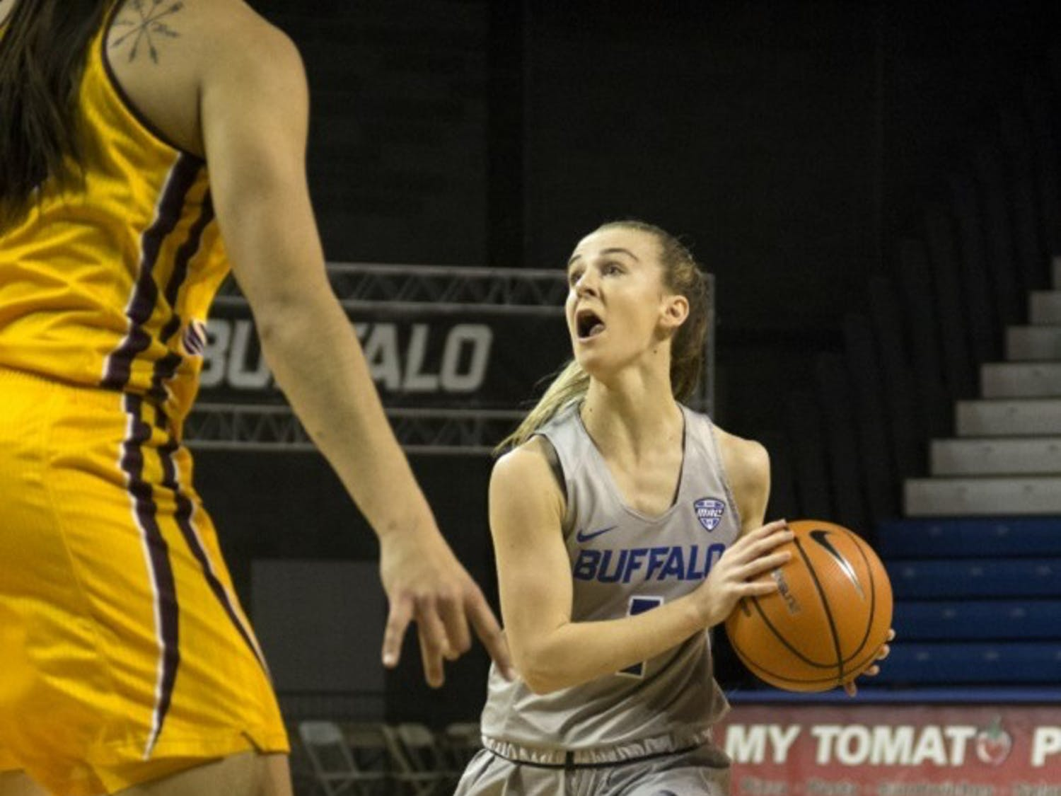 Stephanie Reid picks up her dribble. Reid has played for two professional teams since leaving UB, both in her native country of Australia.