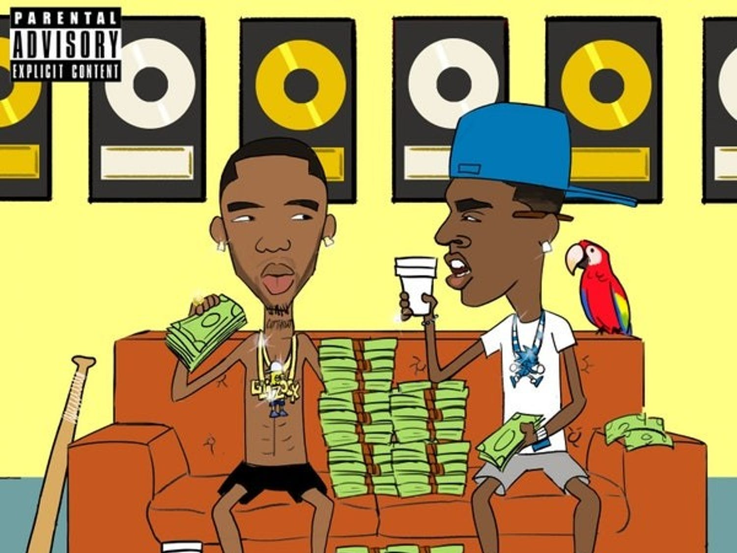 "The album art is a blatant reference to the hit animated series ""Beavis and Butthead,"" featuring Glock and Dolph on a couch amid piles of cash and an assortment of random items — including a parrot."