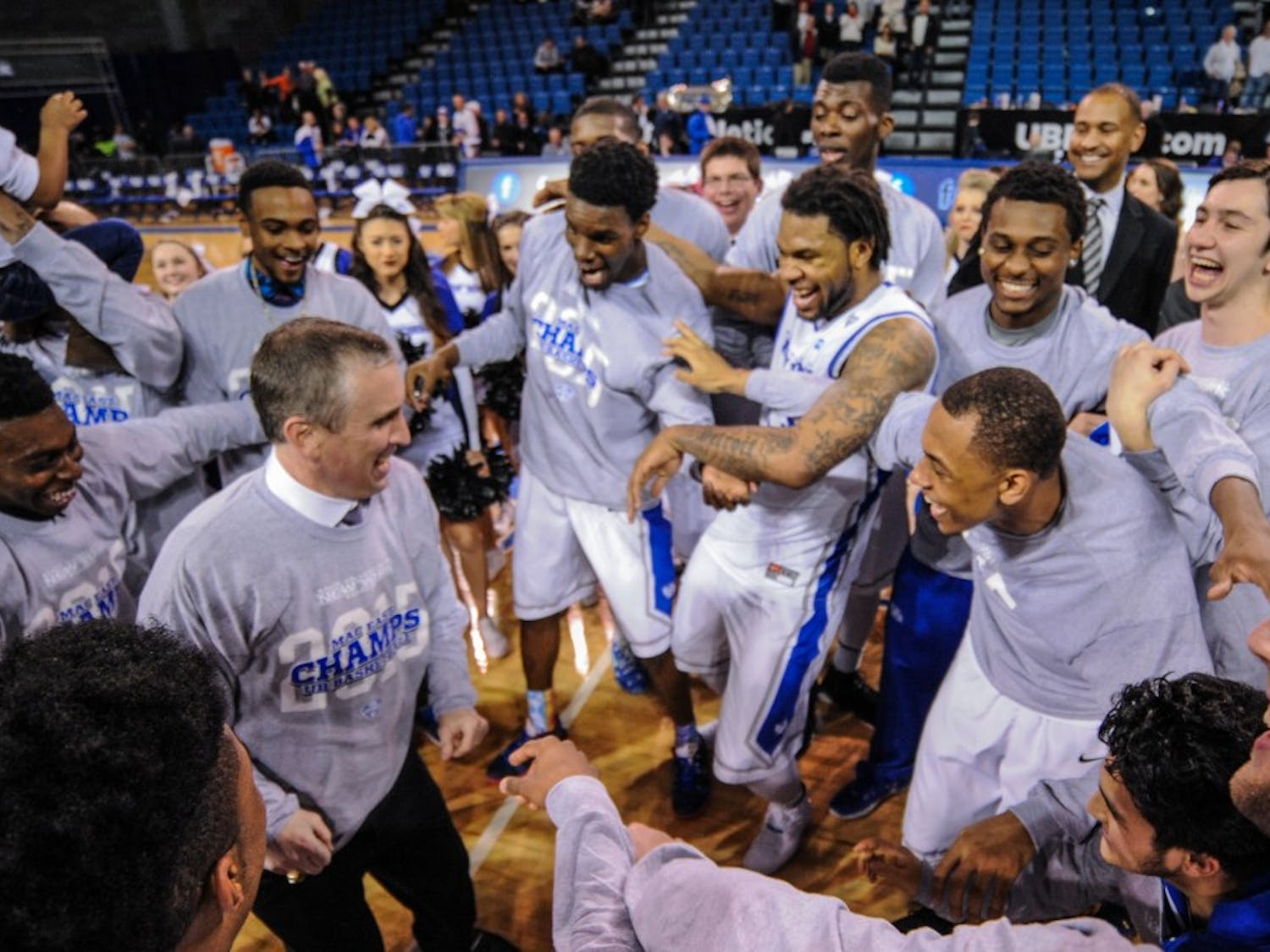 The Bulls (21-9, 12-6 MAC) defeated Bowling Green (19-10, 11-7 MAC) 77-75 at a sold-out Alumni Arena on Friday night to clinch the MAC East division and a share of the regular season championship. The victory solidified a triple-bye in next week's MAC Tournament in Cleveland, Ohio as the team closed out the regular season on a six-game winning streak.