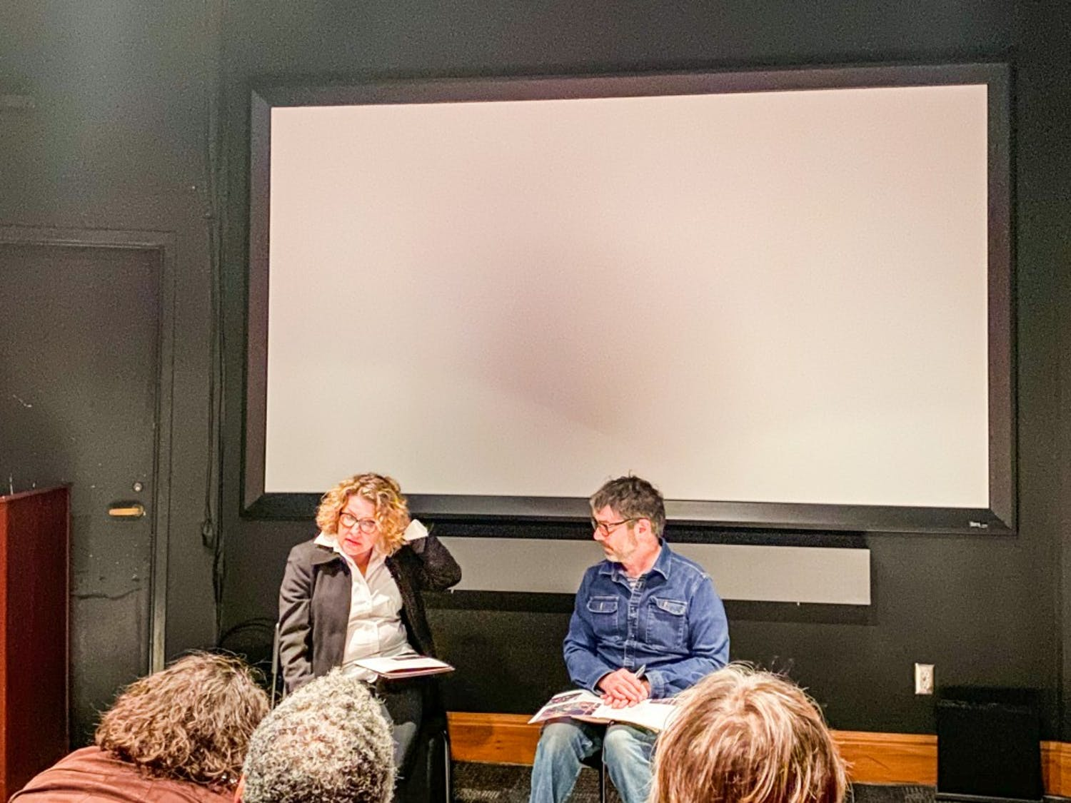 Patricia Zimmermann and Jason Livingston answering questions after the screening.