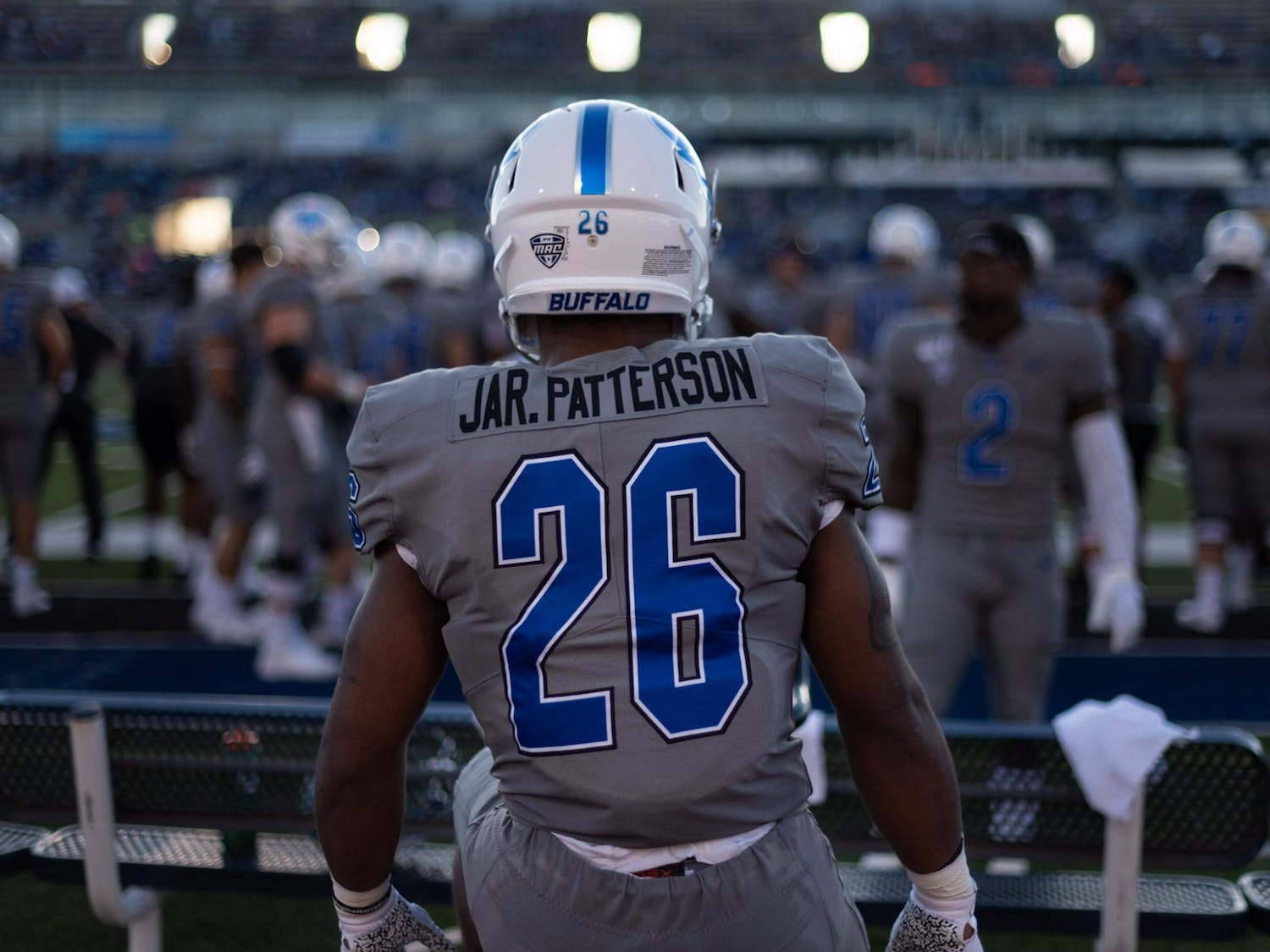 Sophomore running back Jaret Patterson getting ready to take the field.