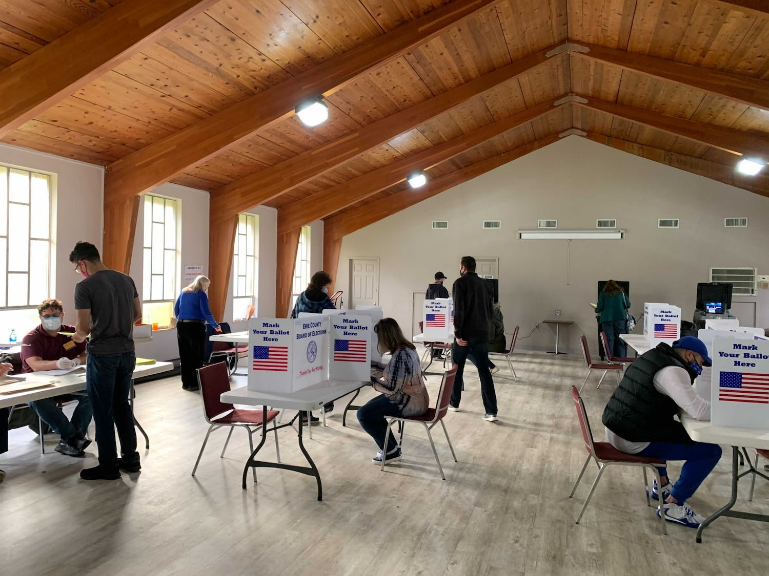People vote in Amherst Baptist Church on Election Day