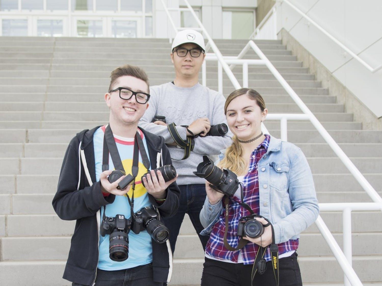 Assistant Photo Editor Troy Wachala (left), Senior Photo Editor Kainan Guo (middle) and Photo Editor Angela Barca (right)