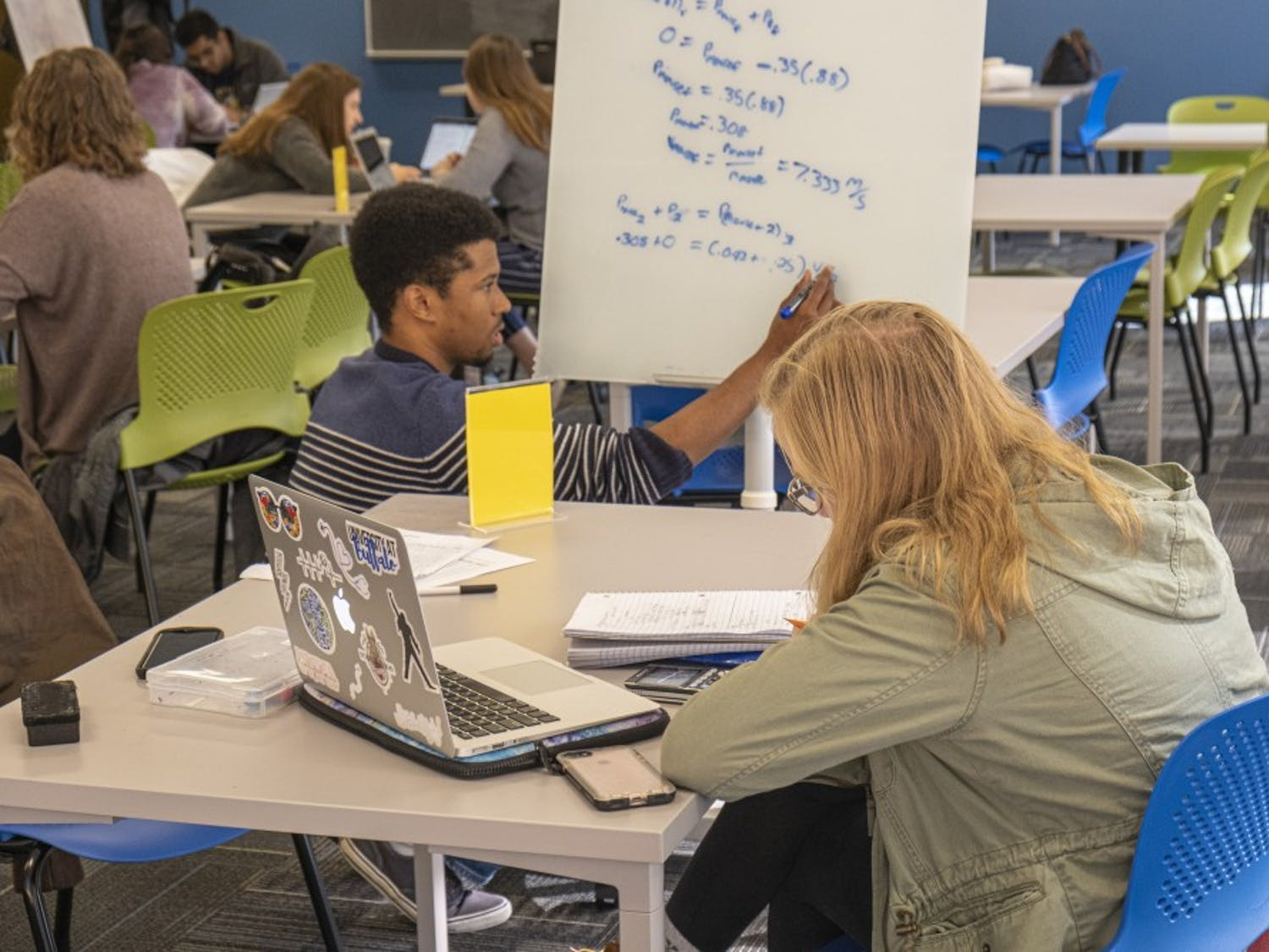 Students working in UB's new Tutoring and Academic Support Services center in Capen.